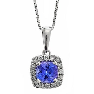 Anika and August 10k White Gold 1/6ct TDW Diamond and Tanzanite Necklace (G-H, I1-I2)