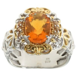 Michael Valitutti Palladium Silver Fire Opal and Orange Sapphire Ring