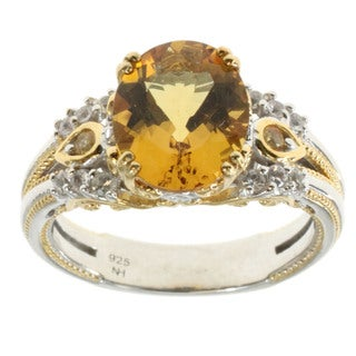 Michael Valitutti Yellow Beryl With White and Yellow Sapphire Ring