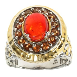 Michael Valitutti Orange Opal and Orange Sapphire Ring
