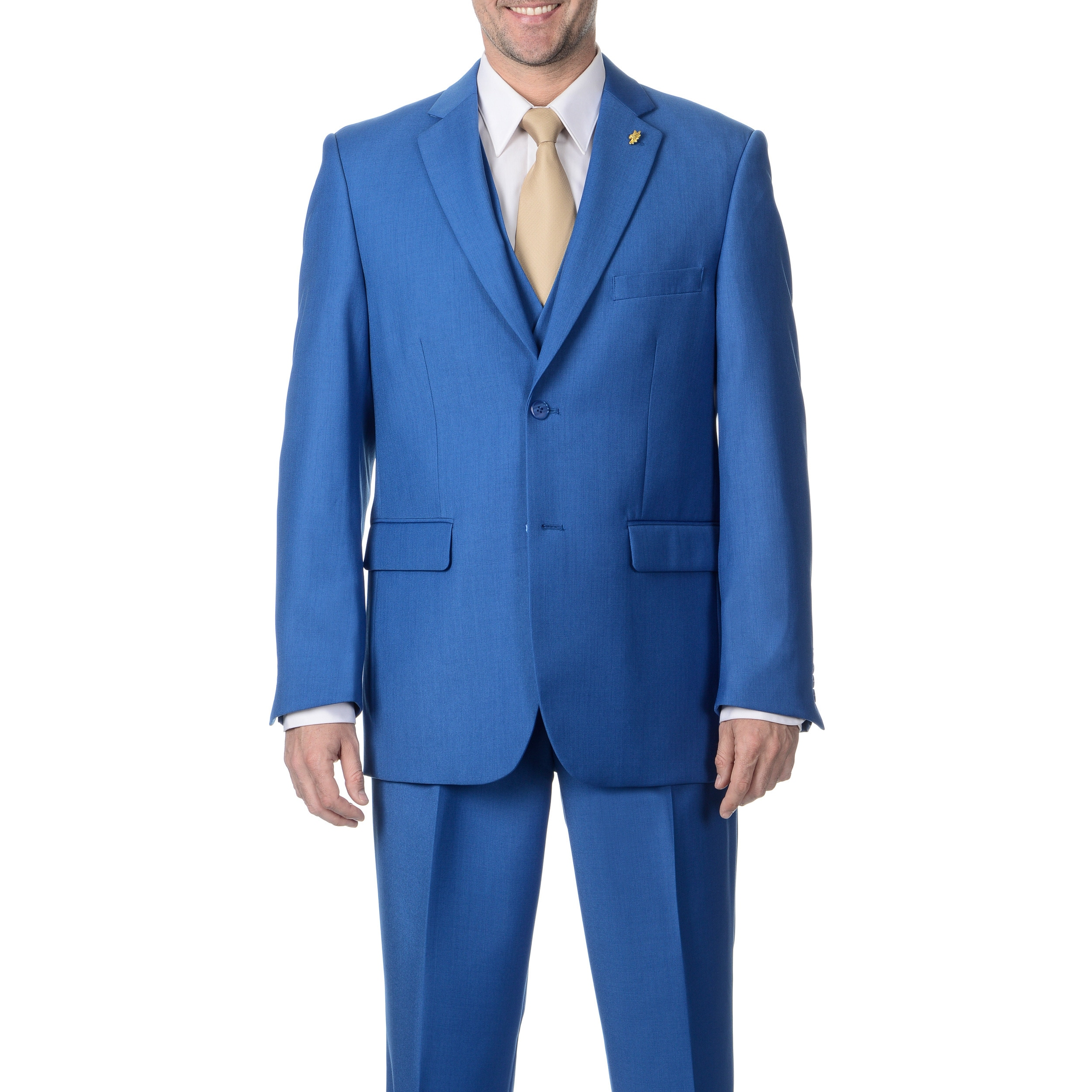 Falcone Navy Double Breasted Classic Fit Suit
