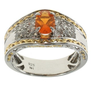 Michael Valitutti Fire Opal White Zircon Ring