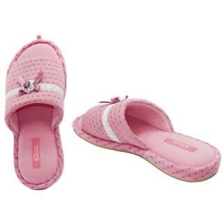 Vecceli Women's Pink Rosette Sandal-style Slippers