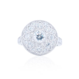 Blue Box Jewels Sterling Silver Cubic Zirconia Round Flower Ring (2 options available)
