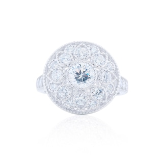 Blue Box Jewels Sterling Silver Cubic Zirconia Round Flower Ring
