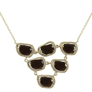Luxiro Sterling Silver Gold Finish Smoky Glass Ovals Statement Bib Necklace