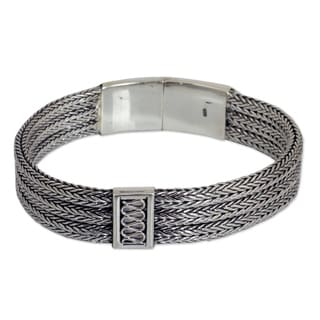 Mens Handmade Sterling Silver Wheat Beared Head Bracelet (Thailand)