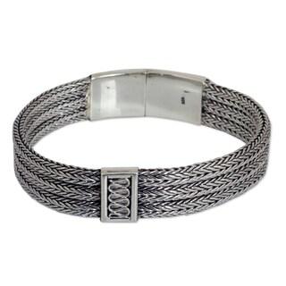 Mens Handmade Sterling Silver Wheat Beared Head Bracelet (Thailand)
