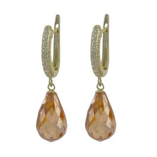 Luxiro Sterling Silver Champagne Teardrop Cubic Zirconia Dangle Lever-back Earrings