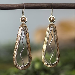 Handmade Sterling Silver Copper 'Aura' Earrings (Mexico)