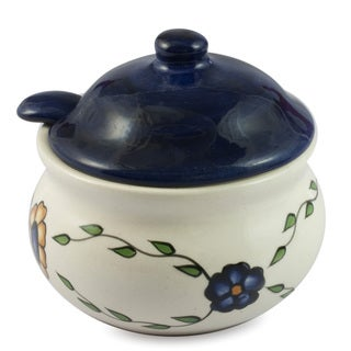 Handcrafted Ceramic 'Margarita' Sugar Bowl with Spoon (Guatemala)