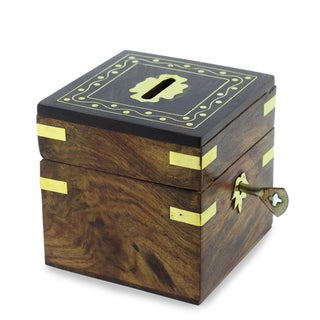 Handcrafted Sheesham Wood Brass Inlay 'Personal Finance' Bank (India)