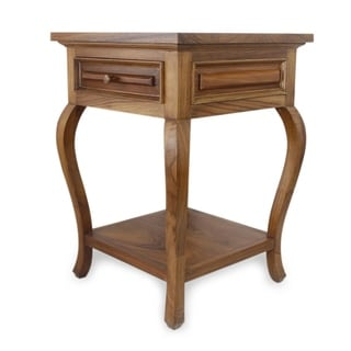 Handcrafted Parota Wood 'Colonial Mansion' End Table (Mexico)