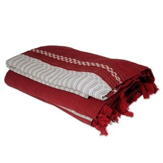 Ruby History Handwoven Red with Black and White 100 Cotton Geometric Pattern Fringed Zapotec King Bedspread (Mexico)