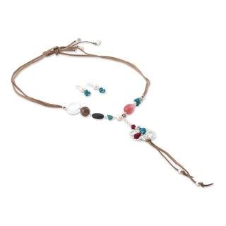 Handmade Silver 'Chapala Bloom' Multi-gem Pearl Jewelry Set (6.5 mm) (Mexico) - Green/Orange