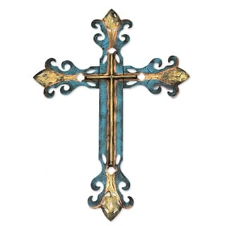 Royal Cross Indoor Outdoor Patio Garden Turquoise Orange Gold Rustic Handcrafted Christian Decor Accent Metal Wall Art (Mexico)