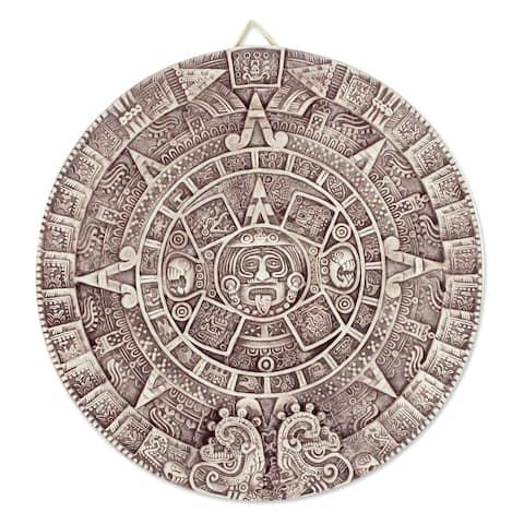 Handmade Ceramic 'Aztec Calendar in Beige' Plaque (large) (Mexico)