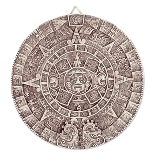 Ceramic 'Aztec Calendar in Beige' Plaque (large) (Mexico)