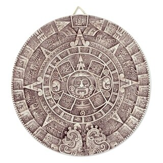 Handmade Ceramic 'Aztec Calendar in Beige' Plaque (large) (Mexico) - N/A