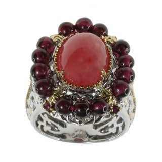 Michael Valitutti Rhodochrosite Garnet and Ruby Ring