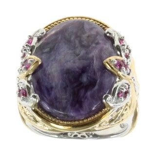Michael Valitutti Purple Jade and Pink Sapphire Ring