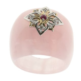 Michael Valitutti Carved Rose Quartz Sapphire Accent Ring