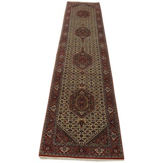 Hand-knotted Runner Bidjar Mahi Wool and Silk Area Rug (3' x 13')