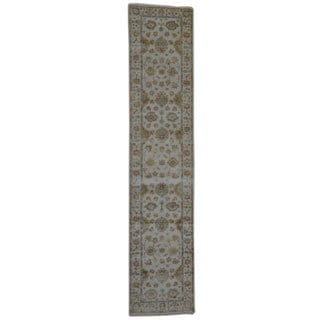 Hand-knotted Oriental Oushak Wool Wool Runner Rug (3' x 12')