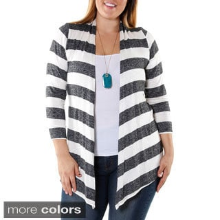 Hadari Women's Contemporary Plus-size Striped Cardigan