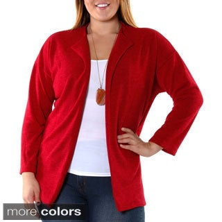 Hadari Women's Contemporary Plus Casual Open Cardigan