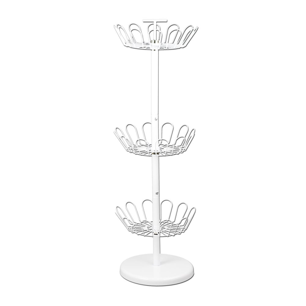 Household Essentials 3-tier Revolving Shoe Rack, White (M...