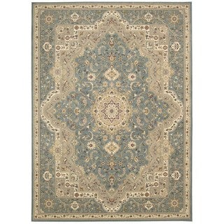kathy ireland Antiquities Imperial Garden Slate Blue Area Rug by Nourison (5'3 x 7'4)