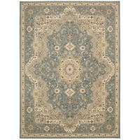 kathy ireland Antiquities Imperial Garden Slate Blue Area Rug by Nourison - 5'3 x 7'4