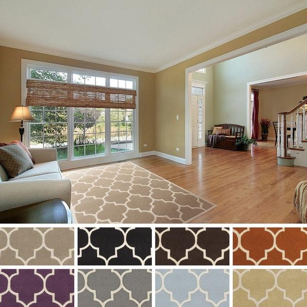Hand-tufted Crystal Moroccan Tile Wool Rug - 7'6 x 9'6