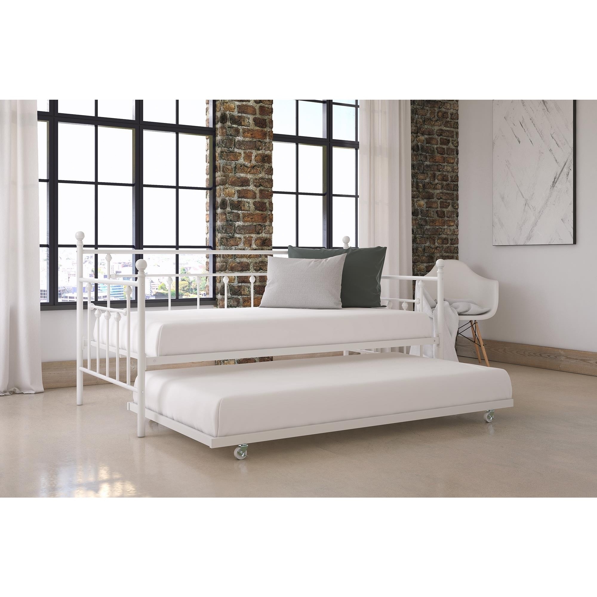 DHP Manila Twin Daybed and Trundle (Twin daybed with trundle, white)