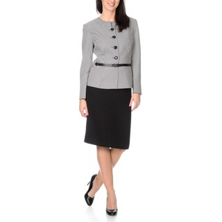 Danillo Women's 2-piece Skirt Suit with Printed Jacket and Waist Belt Closure