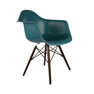 Edgemod Vortex Walnut Wood Leg Dining Arm Chair (Set of 2)