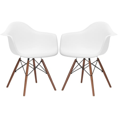 Poly and Bark Vortex Walnut Wood Leg Dining Arm Chair (Set of 2)