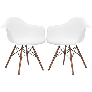 Edgemod Vortex Walnut Wood Leg Dining Arm Chair (Set of 2)