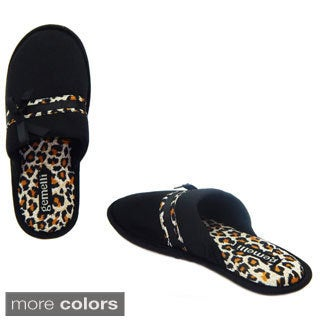 Vecceli Women's Leopard Trim Slippers