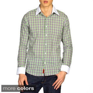 Elie Balleh Brand Men's Plaid Slim Fit Long Sleeve Shirt