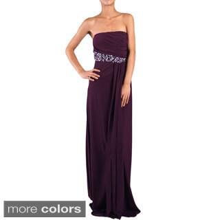 DFI Women's Jewel Accented Strapless Social Dress