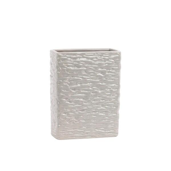 UTC28532: Ceramic Rectangular Vase SM Textured Gloss Finish Light Taupe