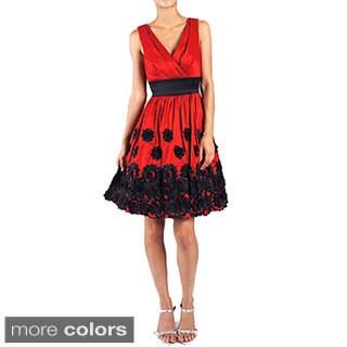 DFI Women's Floral Accent Evening Dress