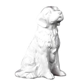 Gloss White Ceramic Sitting Golden Retriever
