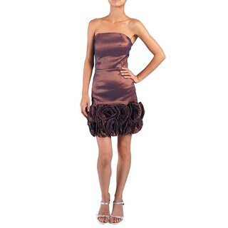 DFI Women's Strapless Evening Gown with Rosettes