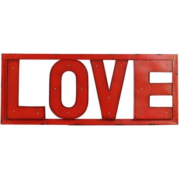 Red Love Wall Decor : Red metal love sign wall decor with led lights free
