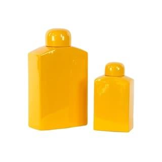 Amber Ceramic Jars (Set of 2)