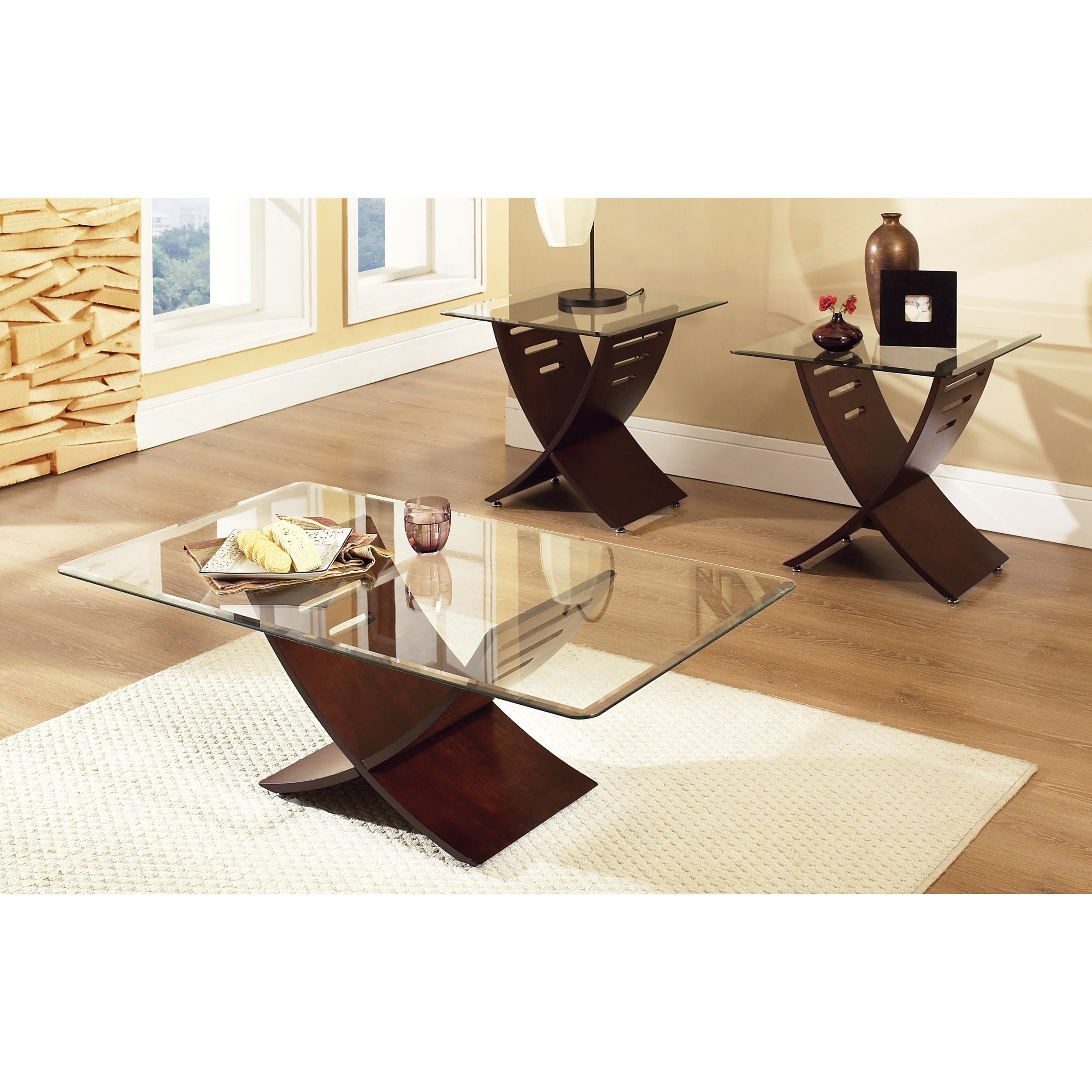 Cache Espresso Wood/ Glass Coffee And End Table 3-piece
