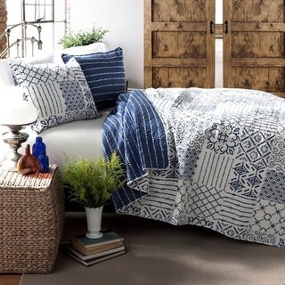 Lush Decor Monique 3-Piece Cotton Quilt Set (Option: Blue)
